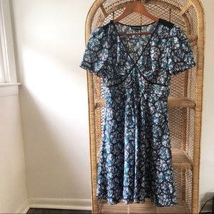Warehouse Floral V Neck Dress UK Brand Size 8